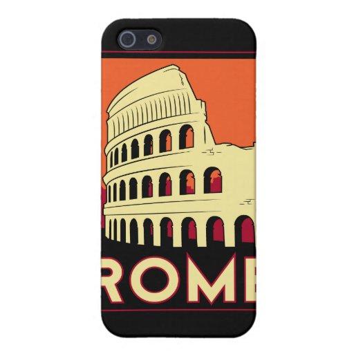 viaje retro del vintage de Europa del coliseo de R iPhone 5 Carcasas
