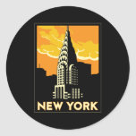 viaje retro del vintage de Nueva York Estados Pegatina Redonda
