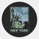 viaje retro del vintage de Nueva York Estados Etiquetas Redondas