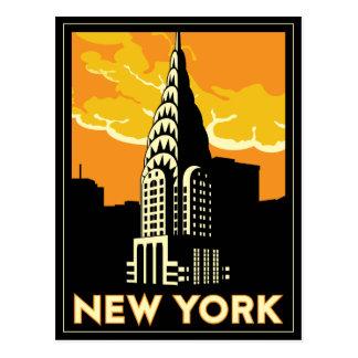 viaje retro del vintage de Nueva York Estados Postal