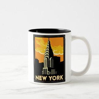 viaje retro del vintage de Nueva York Estados Taza De Dos Tonos