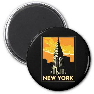 viaje retro del vintage de Nueva York Estados Unid Imanes Para Frigoríficos