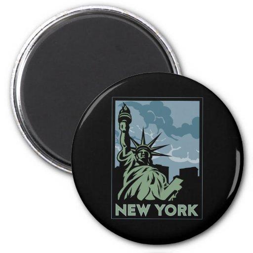viaje retro del vintage de Nueva York Estados Unid Imán Redondo 5 Cm