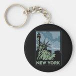 viaje retro del vintage de Nueva York Estados Unid Llaveros Personalizados