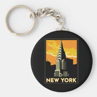 viaje retro del vintage de Nueva York Estados Unid Llavero Redondo Tipo Pin