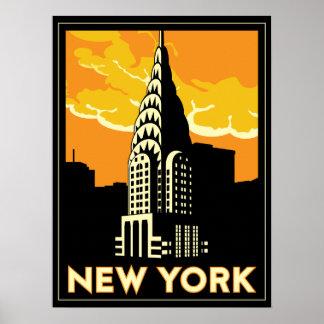 viaje retro del vintage de Nueva York Estados Unid Posters