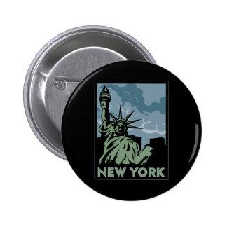 viaje retro del vintage de Nueva York Estados Unid Pin Redondo De 2 Pulgadas