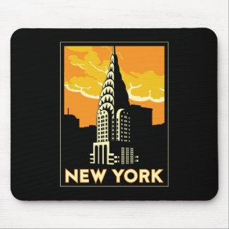 viaje retro del vintage de Nueva York Estados Unid Tapete De Raton