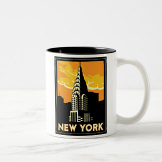 viaje retro del vintage de Nueva York Estados Unid Tazas