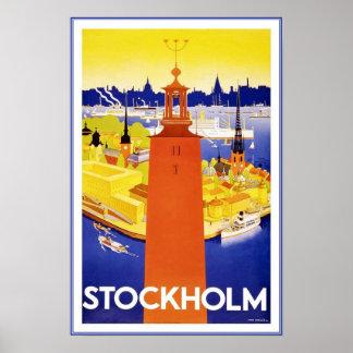 Viaje retro Estocolmo de la imagen del vintage de  Posters