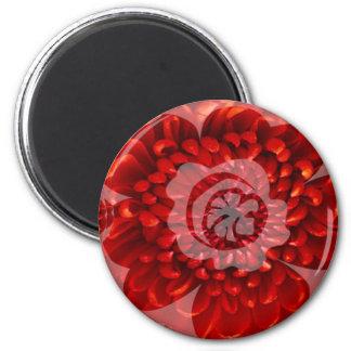 Viaje rojo de la flor - mundo de la adoración de imán redondo 5 cm