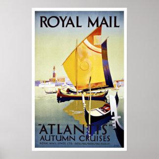 Viaje Royal Mail la Atlántida del vintage Póster
