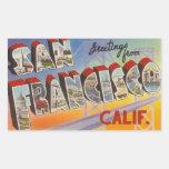 Viaje San Francisco del vintage Rectangular Pegatinas