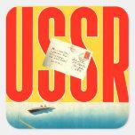 Viaje soviético del kitsch retro del vintage al pegatina cuadrada
