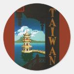 Viaje torre con gradas de la pagoda de Asia, Pegatina Redonda