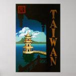 Viaje torre con gradas de la pagoda de Asia, Taiwá Poster
