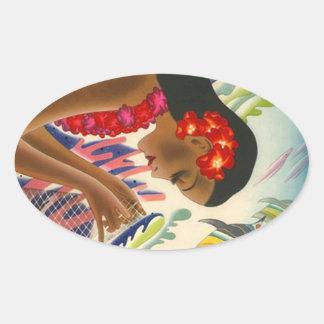 Viaje tropical de las islas hawaianas del vintage pegatina ovalada