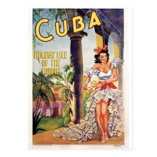Viaje turístico cubano de las zonas tropicales de postales