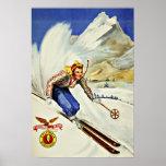 Viaje único del vintage del esquí de los centros impresiones