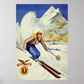 Viaje único del vintage del esquí de los centros póster