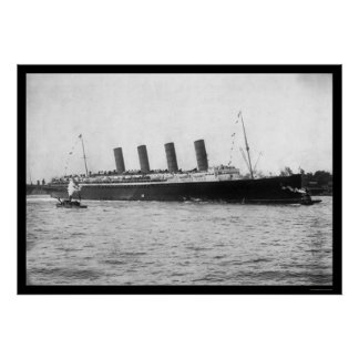 Viaje virginal del Lusitania 1907 Posters