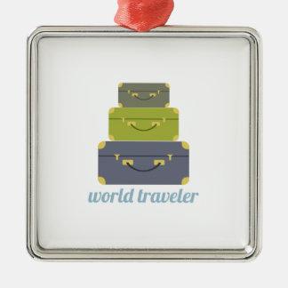 Viajero de mundo adorno navideño cuadrado de metal