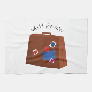 Viajero de mundo toalla de cocina