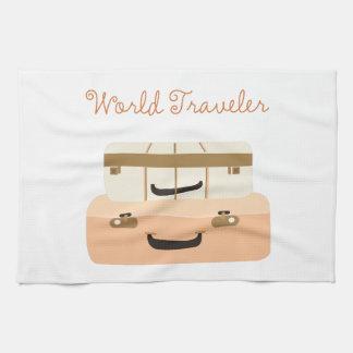 Viajero de mundo toalla de mano