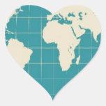 Viajero de mundo pegatina en forma de corazón