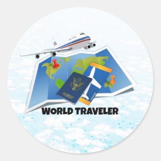 Viajero de mundo pegatina redonda