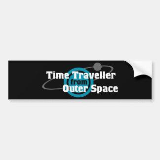 Viajero del tiempo del espacio exterior pegatina de parachoque