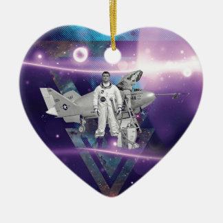 Viajero frecuente por noche adorno de cerámica en forma de corazón