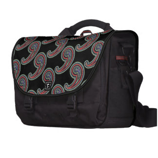 Viajero negro rojo de Paisley del vintage retro co Bolsas De Portatil