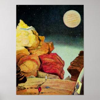 Viajeros del planeta de la mina de la ciencia ficc póster