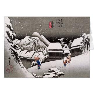 Viajeros en la nieve en la estación de Kanbara Tarjeta De Felicitación
