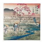 Viajeros japoneses antiguos azulejo cuadrado pequeño
