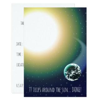 """Viajes de encargo de Bday alrededor del Sun Invitación 3.5"""" X 5"""""""