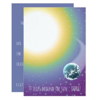 """Viajes de encargo del cumpleaños alrededor del Sun Invitación 3.5"""" X 5"""""""