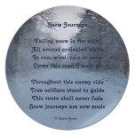 Viajes de la nieve del poema de la placa por el af plato de comida