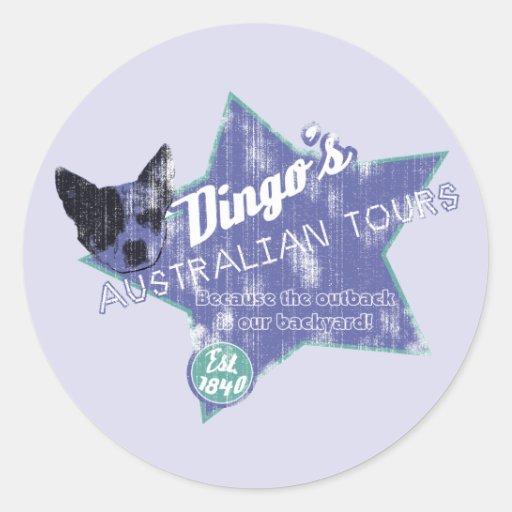 Viajes del australiano del Dingo Pegatina Redonda