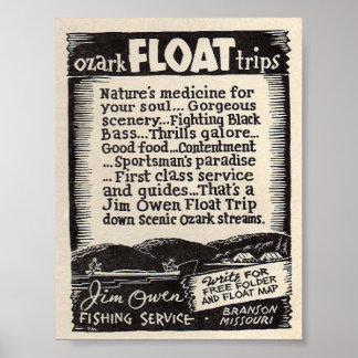 Viajes del flotador de Jim Owen Póster