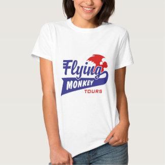 Viajes del mono del vuelo remeras