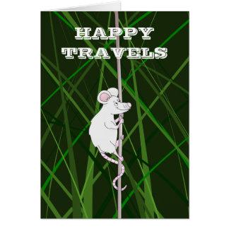Viajes felices que suben el ratón de campo tarjeta de felicitación