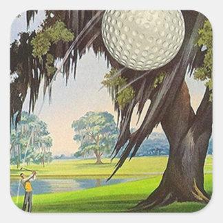 Viajes Golfing del viaje de los pegatinas del golf Pegatina Cuadrada
