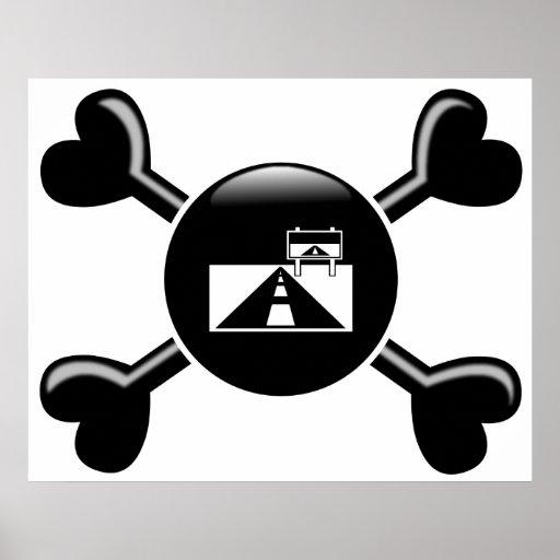 Viajes por carretera de la bandera pirata posters