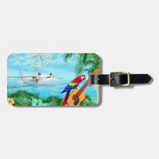 Viajes tropicales etiquetas maleta