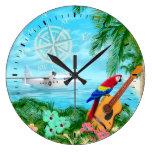 Viajes tropicales reloj redondo grande