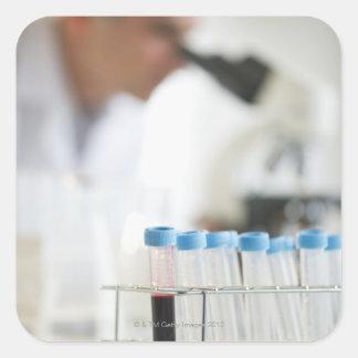 Vials in research lab square sticker