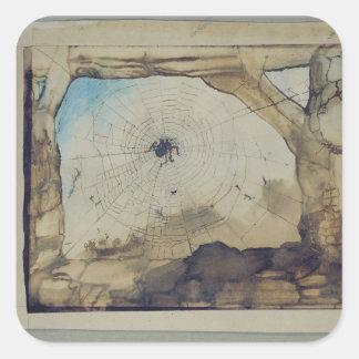 Vianden through a Spider's Web Square Sticker
