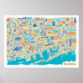 Vianina Barcelona town center map poster